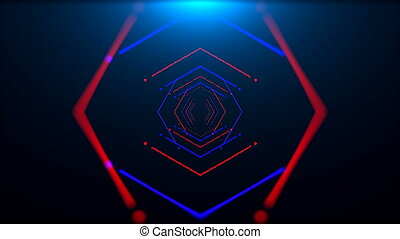 Futuristic tunnel with neon light in space, abstract...