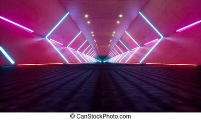 Futuristic tunnel with neon lights 3d realistic seamless footage