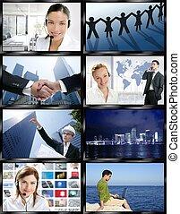 Futuristic tv video news digital screen wall with business ...