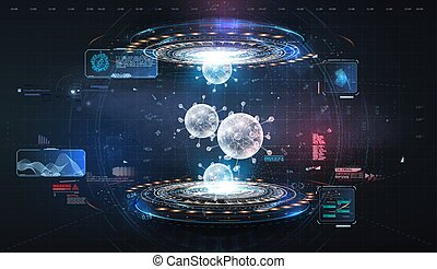 Futuristic user interface. 3d illustration. HUD. Hi-tech futuristic display. Hologram of coronavirus COVID-2019 on a blue futuristic background. Data visualization. Deadly type of virus 2019-nCoV.
