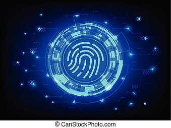 Fingerprint scanning - Futuristic User Interface HUD, ...