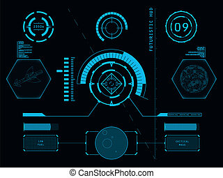 Futuristic user interface HUD - Futuristic blue virtual...