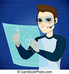 Futuristic User Interface Man - Young man using futuristic...
