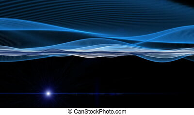 Futuristic video animation with moving wave object and light, loop HD 1080p