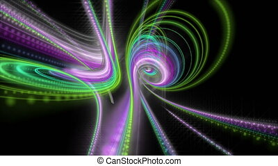 Futuristic video animation with particle stripe object and light shimmer in slow motion,