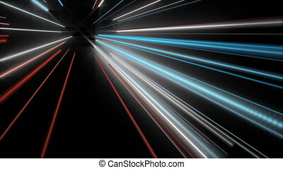 Futuristic video animation with stripe object and light...