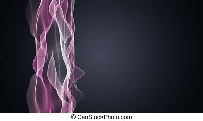 Futuristic video animation with wave object and light in motion, loop HD 1080p