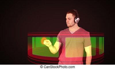 Futuristic video of a man choosing
