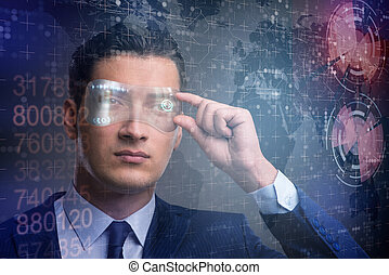 Futuristic vision concept with businessman
