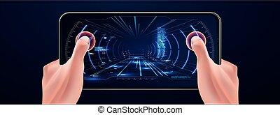 Futuristic VR Head-up Display Design. Future Technology Display Design