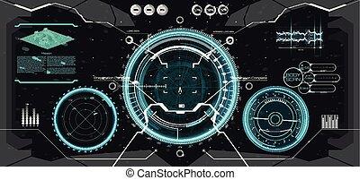 Futuristic VR Head-up Display Design. HUD UI - Futuristic VR...