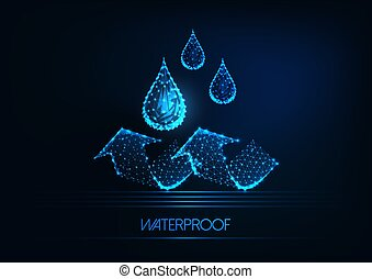 Futuristic waterproofing concept. Glowing low poly water ...