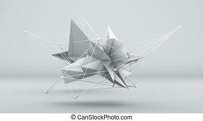 Futuristic white 3D shape in studio. Loop