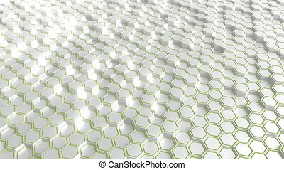 Futuristic white and green hexagonal prisms motion...