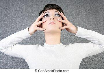 futuristic woman fashion portrait fingers on face
