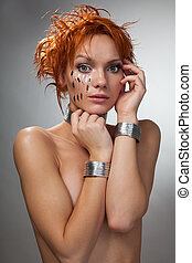 Futuristic woman feel shy naked with chips in her face and...