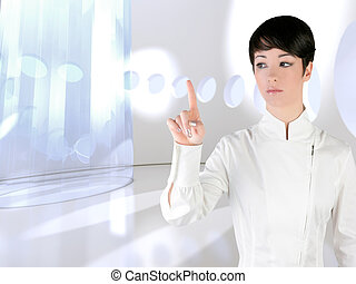 Futuristic woman touch finger copyspace