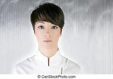 futuristic woman white silver portrait