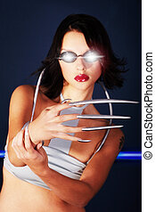 woman with long fingernails
