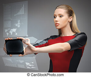 futuristic woman with tablet pc - bright picture of...