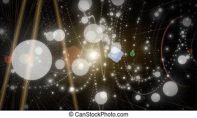 futuristický, částice, grafické pozadí, design, ilustrace, s, plíčky