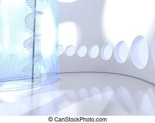futuristický, kolem, domovní, s, barometr, točité schody
