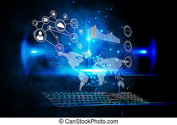 futuristický, technika, rozhraní