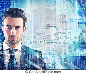 futuristico, affari, visione