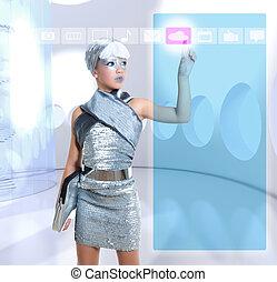 futuristico, bambini, ragazza, in, argento, tocco, dito, icloud, icona