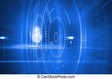 futuristico, blu, cerchi
