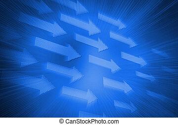 futuristico, blu, frecce