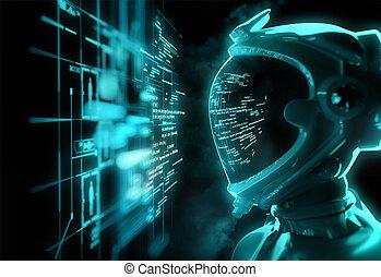 futuristico, codice, -, rottura, astronauta