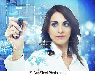 futuristico, computer, interfaccia