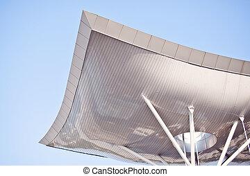 futuristico, curvo, tetto, su, sfondo blu