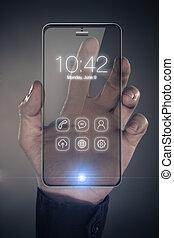 futuristico, far male, telefono, con, trasparente, mostra
