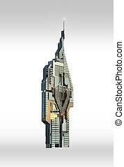 futuristico, grattacielo, architettura