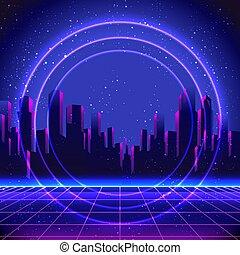 futuristico, illustration., manifesto, 80s, sagoma, synth, ...