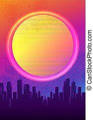 futuristico, illustration., manifesto, sagoma, 80s, synth, ...
