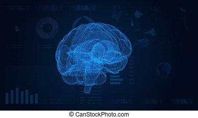futuristico, interface., astratto, fondo, con, cervello, hud, e, plexus.