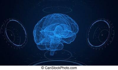 futuristico, interface., cervello, hud, e, plesso