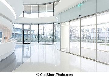 futuristico, moderno, costruzione ufficio, interno, in, urbano, città