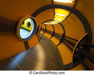 futuristico, moderno, interpretazione, interno, 3d