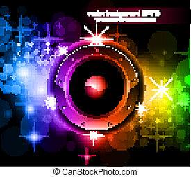 futuristico, musica, discoteca, fondo, con, ardendo, arcobaleno, luci