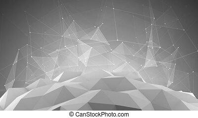 futuristico, rete, forma., astratto, 3d, render, animazione, cappio