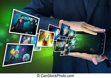futuristico, schermo tocco, mostra