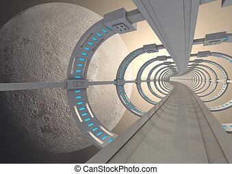futuristico, spazio, ponte
