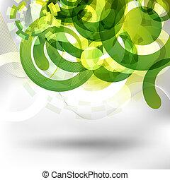 futuristico, verde, disegno