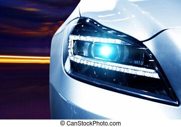 futuristisch, auto, koplamp