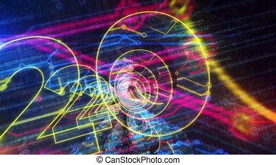 futuristisch, cyberspace, jaar, 2020, enetry, animatie