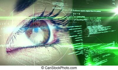 futuristisch, het kijken, oog, interface